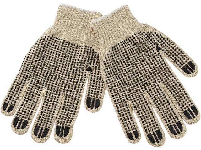 Boardwalk PVC-Dotted String Knit Gloves, Large, Dozen