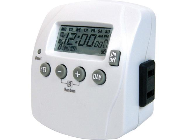 Prime Wire & Cable TND002 1-Outlet Indoor 7-Day Digital Timer w/ 8 ...