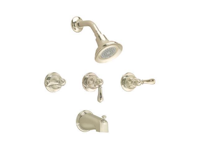 Brushed Nickel 3 Handle Shower Faucet.American Standard 7225 733 295 Hampton 3 Handle Bath