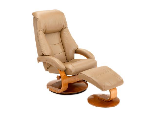 Groovy Oslo Collection Mandal Sand Tan Top Grain Leather Swivel Recliner With Ottoman Recliners Newegg Com Ibusinesslaw Wood Chair Design Ideas Ibusinesslaworg