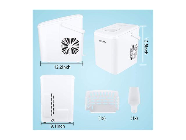 BOSCARE Ice Maker Machine,26lbs//24h Ice Cube Machine,Compact/&Lightweight Ice Maker with Ice Scoop and Basket,white