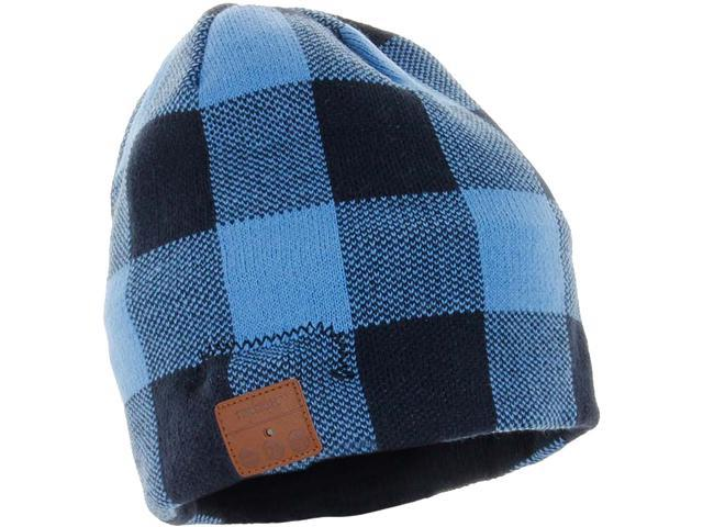 c5f8a33687fed Tenergy Bluetooth Beanie Basic Knit w  Built-in Speakers - Blue Plaid ...