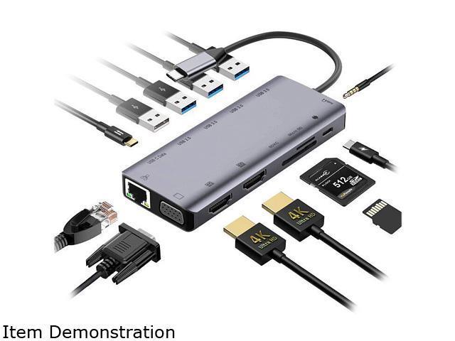 Audio 3X USB 3.0 RJ45 Ethernet USB C Data SD//Micro SD NOV8Tech USB C Hub 13-in-1 Triple Display Screen Type C Docking Station for MacBook Pro Air /& More 2X 4K HDMI Adapter /& VGA 100W PD Charger