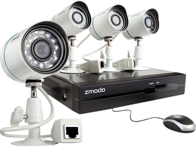 Zmodo ZP-KE1T04-S-1TB 4CH NVR + 4 HD 720P Day/Night Outdoor sPoE IP Camera  w/ 1TB HDD Smartphone Scan QR Code Quick Remote Access - Newegg com