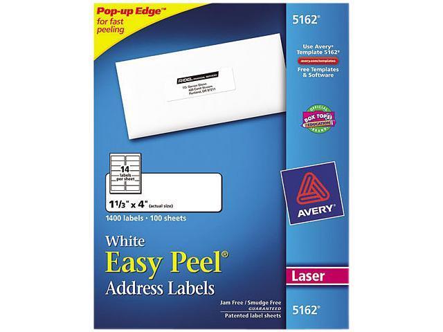 avery 5162 easy peel laser address labels 1 1 3 x 4 white 1400