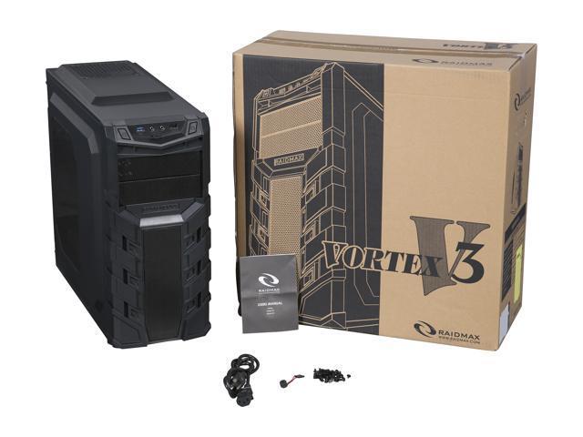 Plastic ATX Mid Tower Computer Case RAIDMAX Vortex V3 ATX-403WB Black Steel