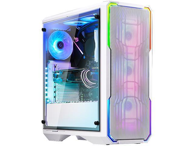 BitFenix Enso Mesh Case White, Tempered Glass Window Side Panel, ATX/Micro  ATX/Mini ITX Form Factor, Asus AURA SYNC 3 pin Addressable RGB LED, ATX PSU