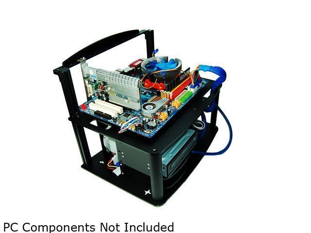 DIYPC Alpha-GT3 Black Acrylic and Aluminum ATX Bench Case Bench Computer Case Mining Rig