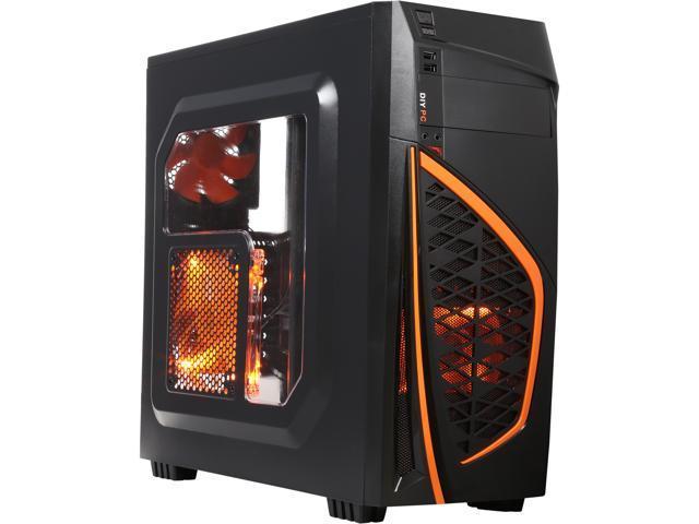 DIYPC Zondda-O Black USB 3 0 ATX Mid Tower Gaming Computer Case with 3 x  Orange Fans (1 x 120mm LED Fan x Side, 1 x 120mm LED Fan x Front, 1 x 120mm