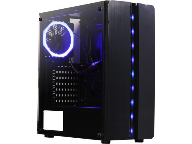 PC Gaming Computer Case Tempered Glass//Steel ATX Mid Tower Blue LED Fans USB 3.0