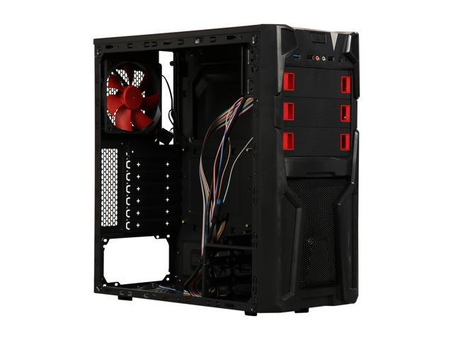 DIYPC Solo-T2-R Black USB 3 0 ATX Mid Tower Gaming Computer Case with 2 x  Red Fans (1x 120mm LED fan x front, 1x 120mm fan x rear) Pre-installed -