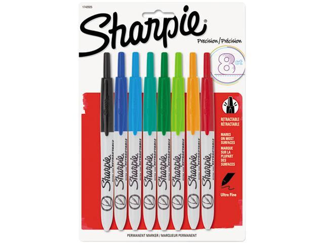Sanford Sharpie Retractable Ultra Fine Point Tip Permanent Marker Assorted Colors 8 Set St San1742025