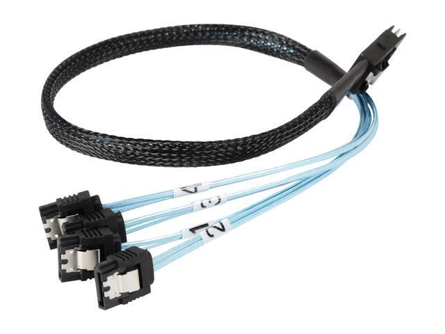 M Coboc SFF8087-4SATA-0.75M 0.75 Meter  30AWG Internal Mini SAS 36pin SFF-8087