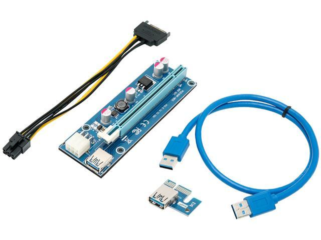 PCI-E Express 1x To 16x Powered USB 3.0 Extender Riser Card Adapter Cable Mining