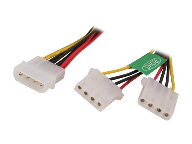 Molex Y Splitter Power Cable Male to Female Athena Power CABLE-YPHD 8 in