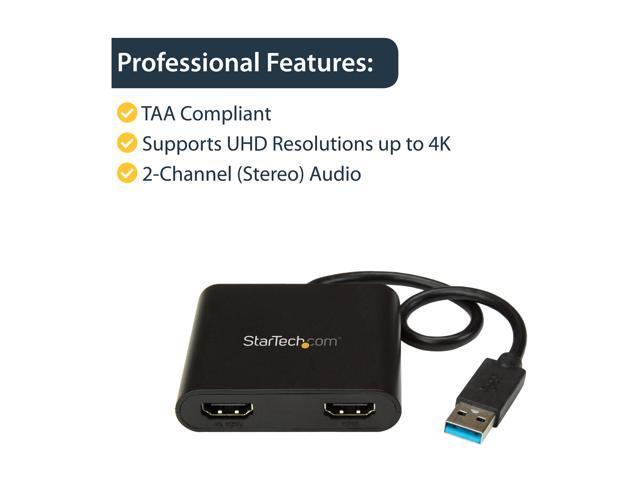 4K Resolution Startech.Com Usb 3.0 To Dual Hdmi Adapter External Video Card