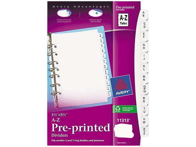 White 8 1//2 x 5 1//2 Avery 11313 Preprinted Tab Dividers 12-Tab