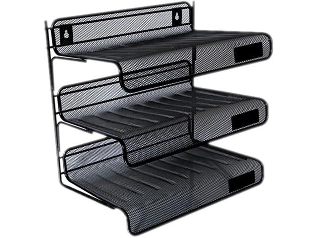 Mesh Three Tier Desk Shelf Letter Black Newegg Com
