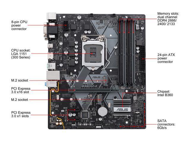 Asus Prime B360m A Lga 1151 300 Series Matx Intel Motherboard Newegg Com