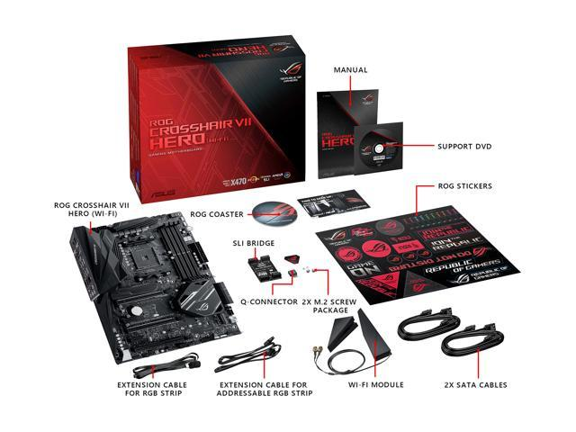 ASUS ROG Crosshair VII Hero (Wi-Fi) AM4 AMD X470 SATA 6Gb/s USB 3 1 ATX AMD  Motherboard - Newegg com