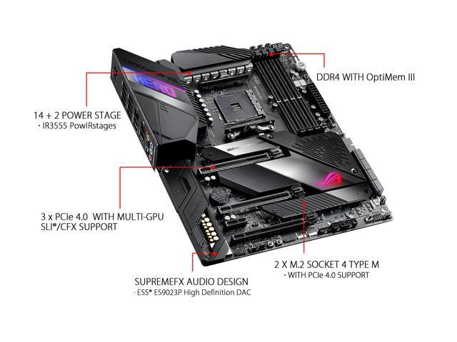ASUS AMD AM4 ROG X570 Crosshair VIII Hero ATX Motherboard with PCIe 4 0,  2 5Gbps LAN, Dual M 2, SATA 6Gb/s, USB 3 2 Gen 2 - Newegg com