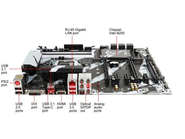 MSI B250 KRAIT GAMING LGA 1151 ATX Motherboards - Intel - Newegg com