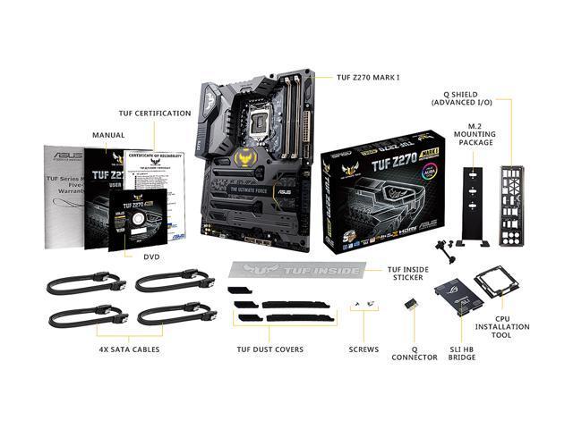 ASUS TUF Z270 Mark 1 LGA1151 DDR4 DP HDMI M 2 USB 3 1 Z270 ATX Motherboard  - Newegg com