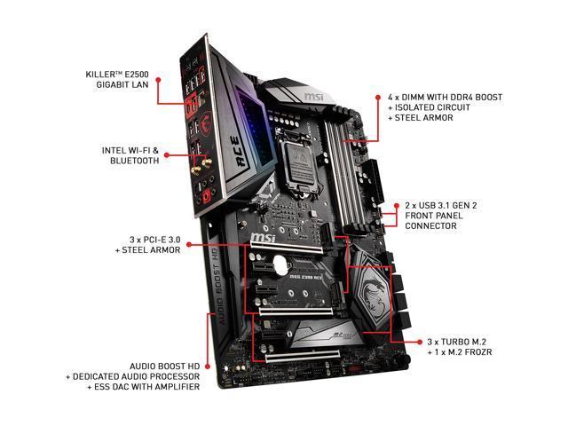 MSI MEG Z390 ACE LGA 1151 (300 Series) Intel Z390 SATA 6Gb/s USB 3 1 ATX  Intel Motherboard - Newegg com