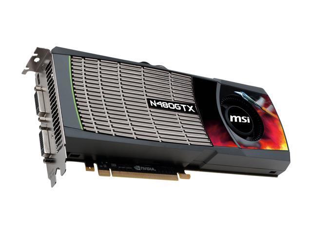 MSI GeForce GTX 480 (Fermi) DirectX 11 N480GTX-M2D15-B 1536MB 384-Bit GDDR5 PCI Express 2.0 x16 ...