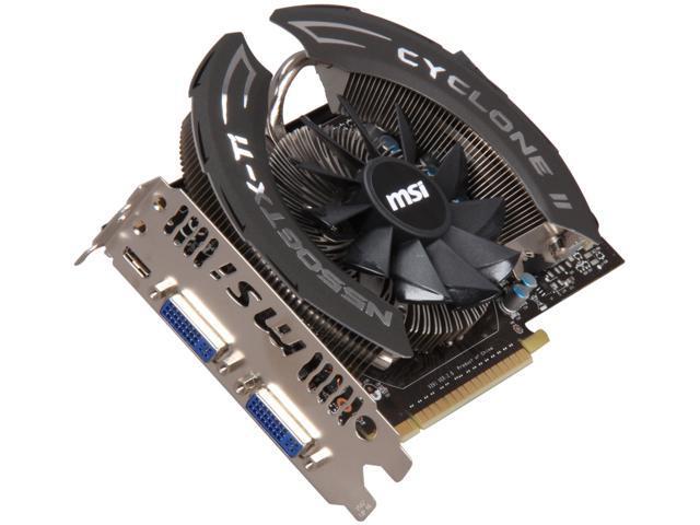 MSI GeForce GTX 550 Ti (Fermi) DirectX 11 N550GTX-Ti Cyclone OC 1GB 192-Bit  GDDR5 PCI Express 2 0 x16 HDCP Ready SLI Support Video Card - Newegg com