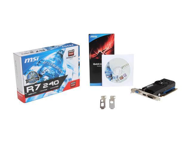 MSI Radeon R7 240 DirectX 12 R7 240 2GD3 LP Video Card - Newegg com