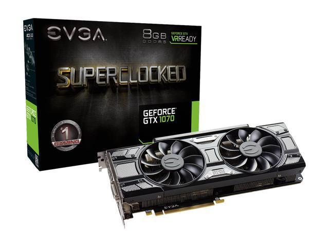 EVGA GeForce GTX 1070 SC GAMING ACX 3 0 Black Edition, 08G-P4-5173-KR, 8GB  GDDR5, LED, DX12 OSD Support (PXOC) - Newegg com