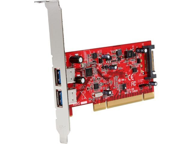 StarTech.com 2 Port PCI SuperSpeed USB 3.0 Adapter Card with SATA Power Model PCIUSB3S22
