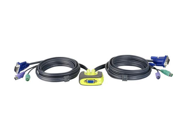 IOGEAR 2-Port MiniView Micro PS//2 KVM Switch with 2 Cables GCS62