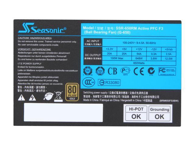 SeaSonic G Series SSR-650RM 650W ATX12V / EPS12V SLI Ready CrossFire Ready  80 PLUS GOLD Certified Modular Active PFC Power Supply New 4th Gen CPU