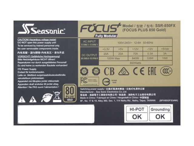 Seasonic FOCUS Plus Series SSR-850FX 850W 80+ Gold ATX12V & EPS12V Full  Modular 120mm FDB Fan Compact 140 mm Size Power Supply - Newegg com