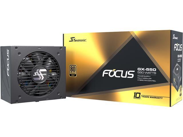Seasonic FOCUS GX-550, 550W 80+ Gold, Full-Modular, Fan Control in Fanless, Silent, and Cooling Mode, 10 Year Warranty, Perfect Power Supply for Gaming and Various Application, SSR-550FX.