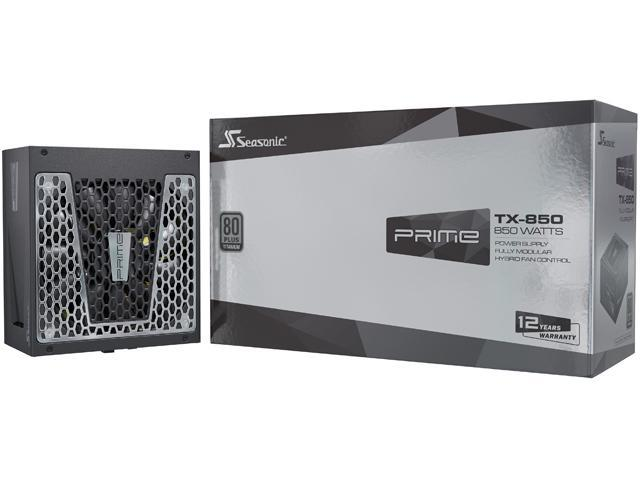Seasonic PRIME TX-850, 850W 80+ Titanium, Full Modular, Fan Control in Fanless, Silent, and Cooling Mode, 12 Year Warranty, Perfect Power Supply for Gaming and High-Performance Systems, SSR-850TR.