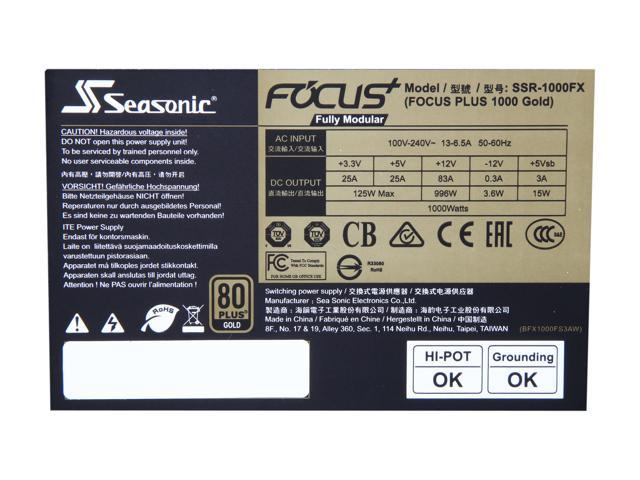 Seasonic FOCUS Plus Series SSR-1000FX 1000W 80+ Gold ATX12V & EPS12V Full  Modular 120mm FDB Fan 10 Years Warranty Compact 140 mm Size Power Supply -