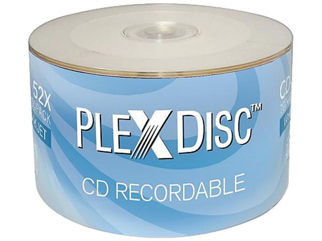 image about Blank Printable Cds known as PlexDisc 52X 700MB White Inkjet Hub Printable CD-R 50 Packs Disc Type 601-200 -