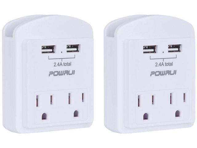 2-Pack POWRUI USB Outlet with 2 USB Ports Wall Charge and Top Phone Holder