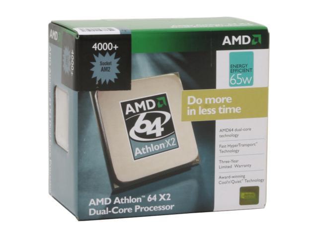 AMD Athlon 64 X2 4000+ Brisbane Dual-Core 2 1 GHz Socket AM2 65W  ADO4000DDBOX Processor - Newegg com