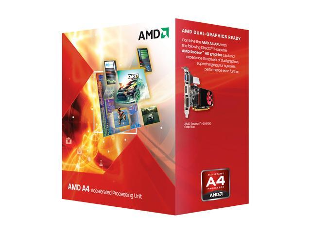 Amd A4 3300 2 5 Ghz Socket Fm1 Ad3300ojhxbox Desktop Apu Cpu Gpu With Directx 11 Graphic Newegg Com