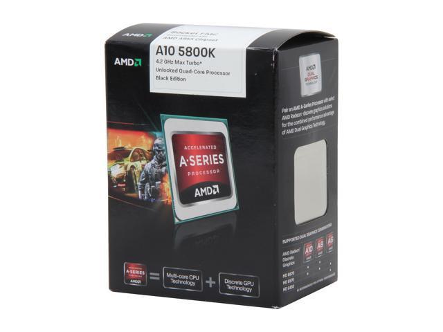 AMD A10-5800K Desktop APU (CPU + GPU) Trinity Quad-Core 3 8GHz (4 2GHz  Turbo) Socket FM2 100W with DirectX 11 Graphic AMD Radeon HD 7660D
