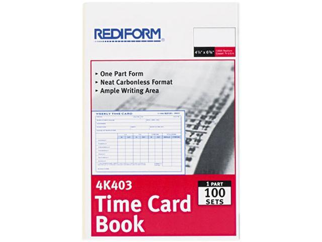 rediform 4k403 weekly employee time card gummed 1 part 4 25 x 6