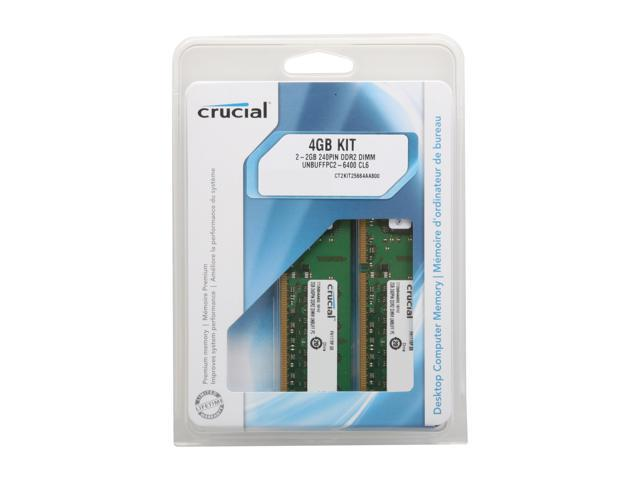 DDR2 800  PC2-6400 DDR2 DIMM 2 X2GB CT2KIT25664AA800 For Desktop Crucial 4GB