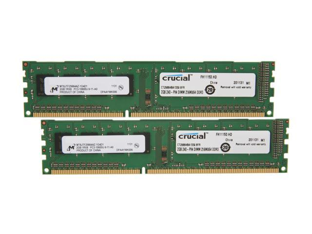 Crucial 4GB (2 x 2GB) 240-Pin DDR3 SDRAM DDR3 1333 (PC3 10600) Dual Channel Kit Desktop Memory Model CT2KIT25664BA1339