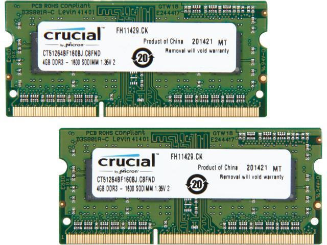 Crucial 8GB (2 x 4GB) 204-Pin DDR3 SO-DIMM DDR3L 1600 (PC3L 12800) Laptop  Memory Model CT2KIT51264BF160BJ - Newegg com