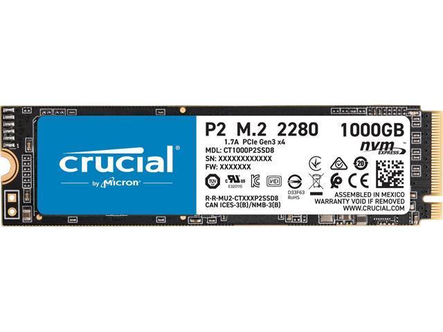 Crucial P2 1TB 3D NAND NVMe PCIe M.2 SSD Jusqu'à 2400 MB/s - CT1000P2SSD8