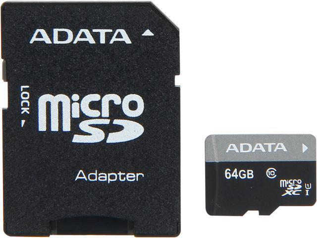 ADATA 64GB Premier microSDXC UHS-I / Class 10 Memory Card with SD Adapter, Speed Up to 50MB/s (AUSDX64GUICL10-RA1)